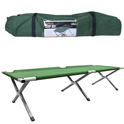 Folding Camping Bed Heavy Duty Green Fabric Light Aluminium Legs with Carry Bag