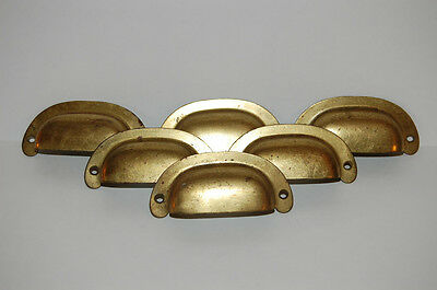 Lot of 6 Matching NOS Brass Plated Steel Drawer Pulls 3 Pair Industrial Mission