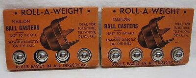 Vintage Roll-A-Weight Nail-On Ball Casters in Original Packaging Total 8 Casters