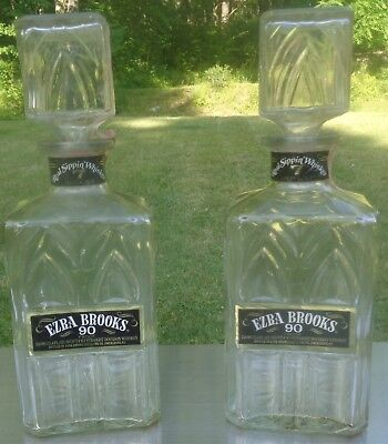 TWO Ezra Brooks Clear Glass Real Sippin' Whiskey Decanters Nice pattern