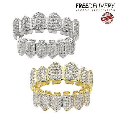 18K Plated Gold / Silver Top Bottom GRILLZ Mouth Bling Diamond Teeth Grill Set