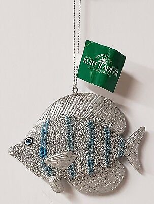 New Kurt Adler Nautical Silver Blue Tropical Fish Resin Ornament New With Tag