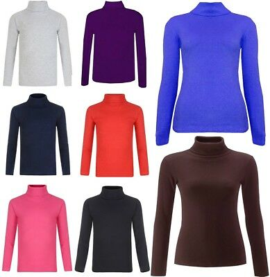 Girls Plain Polo Neck Top Kids Long Sleeve Turtle Jumper Tops 5-13 Years