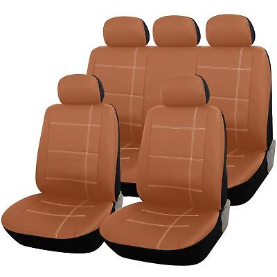 Brown / Tan Leather Look Full Set Seat Covers For DACIA SANDERO STEPWAY 13-ON
