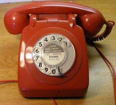 Vintage 1963  Gpo 706L  Red Telephone( Converted With Modern Plug)