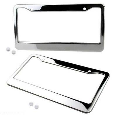 2pcs Chrome Stainless Steel Car Truck License Number Plate Frame + Ccrew Cap