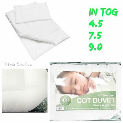 New Super Soft Quilted Duvet / Pillow Microfibre Baby Toddler Cot bed 120x150cm