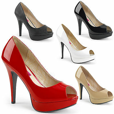 the latest 466a0 51277 CHLOE-01 PEEP TOE Plateaupumps schwarz rot creme weiß ...