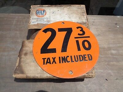 Gulf Gas  Price Sign 1920-1930 NOS BOX INCLUDED LOST ONE TO SELL
