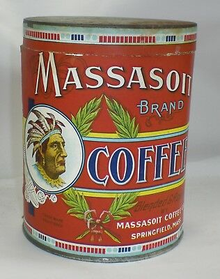 Vintage Massasoit Coffee Tin with Indian Chief Paper Label ~ Springfield MA ~ NR