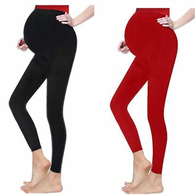 Womens Stretchy Adjustable Maternity Full Ankle Length over Bump Leggings