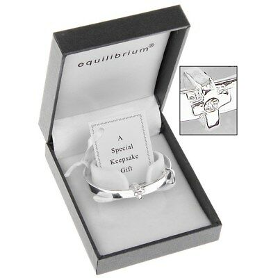Baby Bangle Gift Christening Diamante Cross  Equilibrium Silver Plated 6780