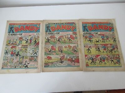 THE DANDY COMIC x 3 -No's  848,850,888  from 1958 - Good/fair condition/  beano