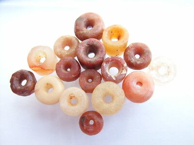 16 Ancient Neolithic Carnelian, Rock Crystal, Quartz Beads, Stone Age, RARE !!