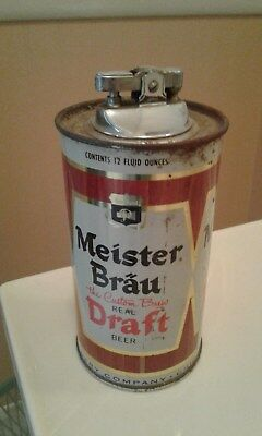 Vintage Meister Brau Beer Can Lighter Peter Hand Brewery, Chicago IL