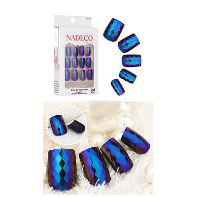 Art Finger 24pcs Scales False Natural Full Nail Glue Diy Manicure Mermaid Tips