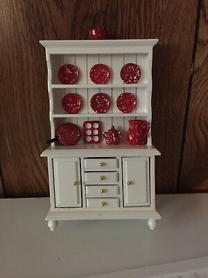 Dollhouse Miniature White Kitchen Hutch with Red Spatterware, New, 1:12