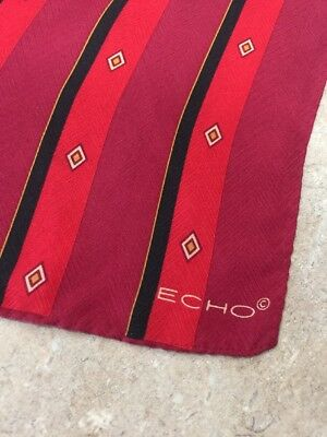 Echo Vintage Silk Scarf, Oblong, Red Diagonal Check, 11.5X52 Inches