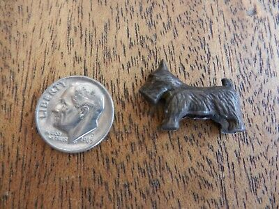 "Miniature bronze tone cast metal Scottie dog terrier 7/8"" long"