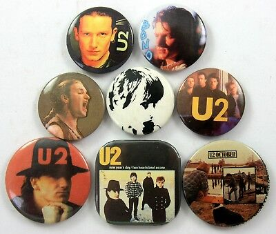 U2 BUTTON BADGES 8 x Vintage U2 Pin Badges * Bono * New Year's Day *