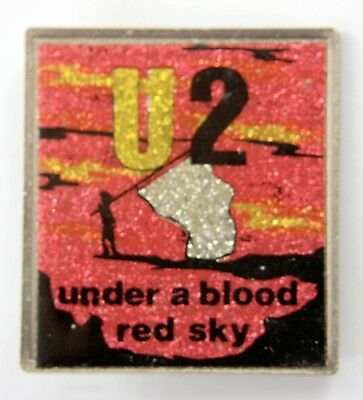 U2 'Under a Blood Red Sky' Vintage Glittery Metal Lapel Badge * Bono *