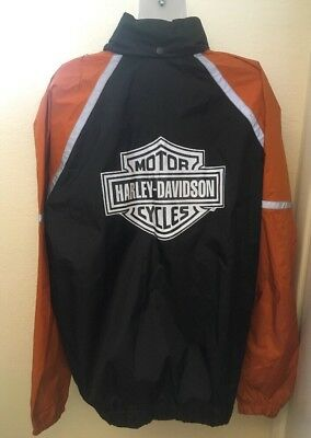 Women's Harley Davidson Hooded Windbreaker Raincoat OrangeBlack 03402-M