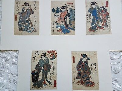 5 brightly colored woodcuts by Kunisada of Japanese ladies, mounted; mid 19th c.