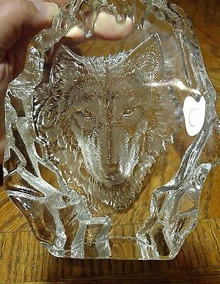 Heavy Carved Etched Glass Wolf Paperweight Art Decor