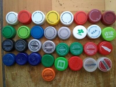 LOT of 40 DIFFERENT PLASTIC BOTTLE CAPS (turn ON/OFF, 30 mm diameter)