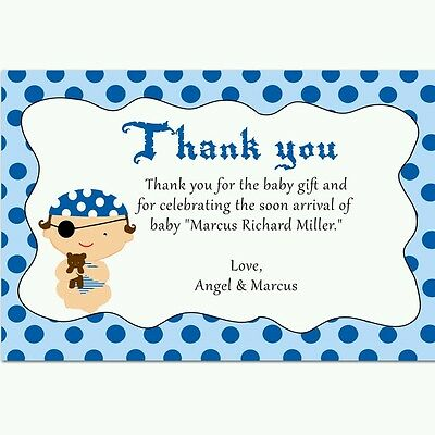 30 Cards Pirate Fairy Personalized Thank You Notes Pink Blue Kids
