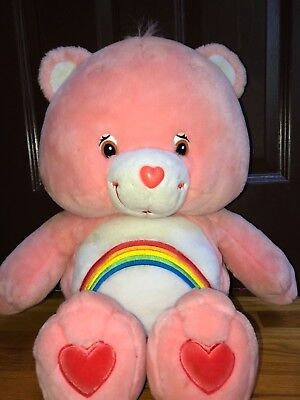 "Jumbo Cheer Bear Care Bears 2002 26"" Pink Plush Stuffed Animal So Cute! 80's"