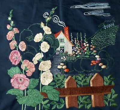 Vintage Embroidered Panel English Country Cottage Garden Hollyhocks Picket Fence