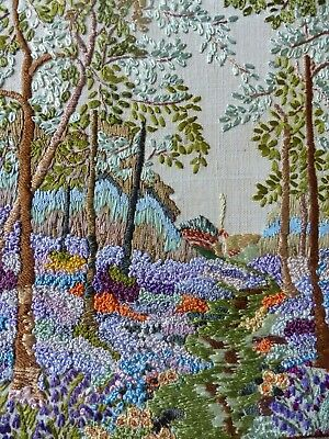 Vintage Embroidered Picture Detailed Woodland Heather  Blue Bells French Knots