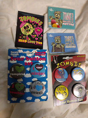 NEW 5pc Lof of Zombies Zombie Pins/Buttons and Magnets