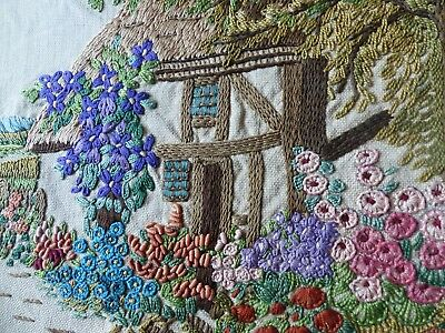 Lg Vintage Embroidered  English Country Cottage Garden Flowers Detailed Stitches