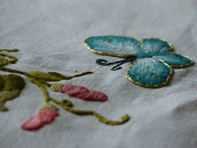 Vintage Embroidered Panel Vase Flowers Butterfly Woolwork