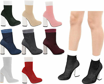 New Womens Ladies Ankle Sock Boots High Block Heel Elastic Casual Shoes Sizes