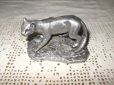 Vintage Cougar Mountain Lion Pewter Figure ~ Signed Ricker