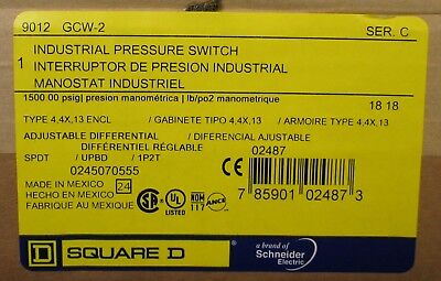 SQUARE D 9012 GCW-2 1500 PSIG Industrial Pressure Switch 9012 GCW 2 *SEALED BOX*