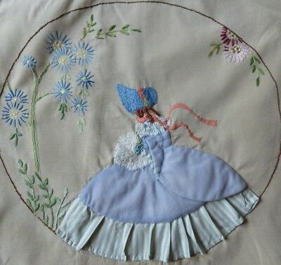 Vintage Fabric + Embroidered Crinoline Lady Simple Cushion Cover