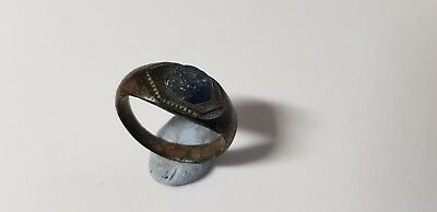 Roman Bronze Ring with Blue Stone 2nd ,3rd century AD