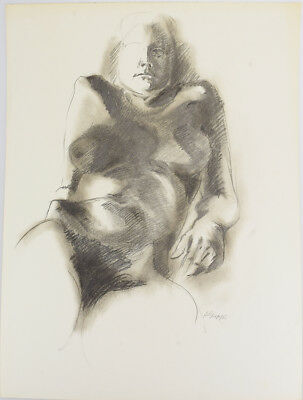 Salvatore Grippi original drawing, nude,1960s, new york school modernist, listed