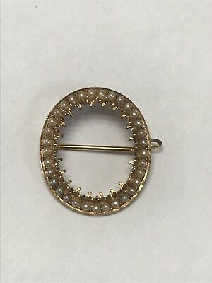 Vintage Antique Gorgeous 14KT 585 Yellow Gold Oval Pearl Halo Pin Brooch Pendant
