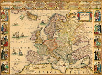 111019 Map Antique Blaeu 1664 Europe Old Historic Large Wall Print Poster Au