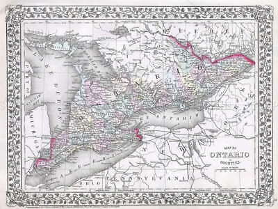 111625 GEOGRAPHY MAP ILLUSTRATED ANTIQUE ONTARIO Decor WALL PRINT POSTER AU