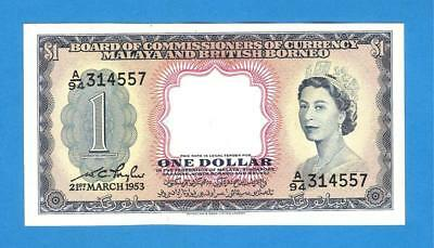 Malaya And British 1 Dollar 1953 Paper Money Rare Authentic!