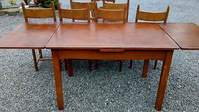 vielle table vintage avec allonge plus chaise