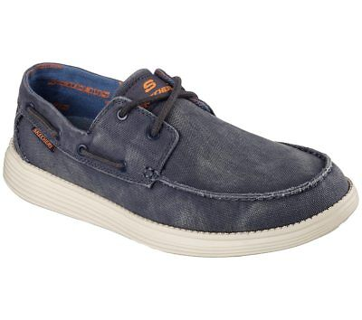 f81ce59b546c New Mens Skechers Relaxed Fit Status Melec Boat Shoe Style 64644 Navy 178D  dr