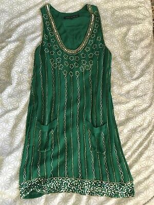 Vintage French Connection Beaded Flapper Style Dress Size 10