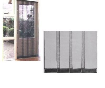 4 Piece Insect Mesh Door Curtain Black Fly And Mosquito Screen 100 x 215cm